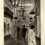 Liz Chalfin, London Shops, Etching with spit bite aquatint.